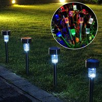 Cheap 10pieces Stainless steel solar lights charged with colorful thin rod cap lamp Solar energy lawn lamp landscape lamp