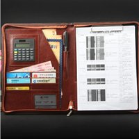 Wholesale padfolio high quality business A4 manager red amp black planner custom zip bag style pu leather document folder with