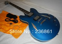 Wholesale wholesaleTop quality Semi Hollow G Dave Grohl signature DG335 Metallic Blue Electric Guitar