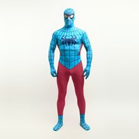 costume spandex bleu rouge achat en gros de-Halloween Blue and Red Superhero Spider-man Cosplay Performance Costumes sexy Lycra Spandex FullBody Zentai Suit pour 2017