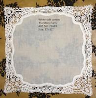 Wholesale Home Textiles New French style lace edges quot x12 quot white Fine cotton lace edging Ladies Handkerchiefs Best quality for bride