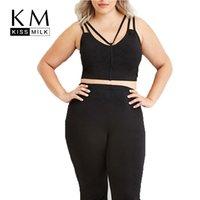 Wholesale Kissmilk Women Plus Size Casual Slim Sleeveless Big Large Size XL XL XL XL Sexy Black Crop Tops Sport Strap T shirts