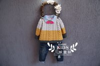 Wholesale Boy s sweater in the fall and winter of han edition of the new child sets mixed color stitching round collar long sleeved sweater