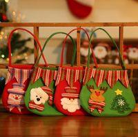 Wholesale 4 Styles Christmas Gift Bags Christmas Santa Claus Snowman Elk Bear Decoration Candy Bag Home Party Decor Xmas Bag Christmas Decor Ornamen