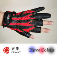Wholesale Fishing Outdoor Sport Glove Comfortable PU Three Colors Fishing Gloves Mitten Mittens Equipment Fish Tackle New
