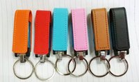 Wholesale 5 Piece No logo New Leather USB Flash Drives Leather USB Flash Memory Stick USB2 Metal Key Ring Leather U Disk