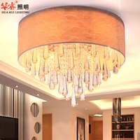 Wholesale Fashionable crystal ceiling lamp modern circular bedroom lighting ceiling hanging surface light living room indoor lamp E14 chandeliers