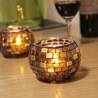 Wholesale 1 European mosaic glass candle holders candle cups decorated candlelight dinner KTV Bar Decoration candlestick