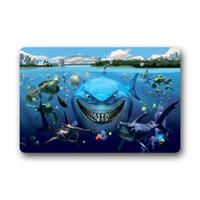 Wholesale Shark Finding Nemo Customize Carpet Room Rug Doormat Indoor Outdoor Machine washable Floor Door Mats Mat Gate Pad x18 Inches