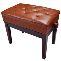 bench ottomans - PU Leather Storage Adjustable Height Padded Seat Keyboard Piano Bench brown