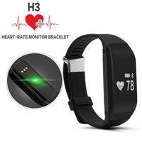 Wholesale Brand New H3 Bluetooth4 Smart Bracelet Heart Rate Monitor Fitness Waterproof Pedometer WristBand Watch for Android IOS