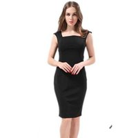 Wholesale Plus Size Women Dress Summer Style XL Work Dress Solid Color Square Collar Pencil Dress Sleeveless Vestidos Good Quality