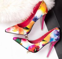 Wholesale European and American fine pointed high heeled shoes with thin high heeled shoes with pointed shoes OL Floral shoes yangxin pair