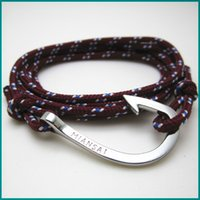 Wholesale hot sell Mixed Order Silver Tone Fish Hook Rope Wrap Bracelets with MIANSAI logo on