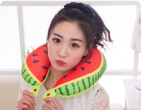 Wholesale New Deals Cartoon Fruit Series U Shaped Adult Neck Pillow d Printed Supersoft Fabric Nap Pillow Car Office Pad Cushion