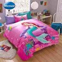 beautiful washing machine - 2016 High Quality Cotton Cartoon Beautiful Mermaid Pieces Duvet Cover Sets Girls Bedding Sets