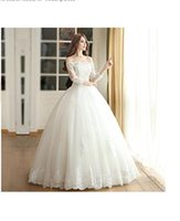 Wholesale Bridess Women s Tulle Ball Gown Lace Wedding Dress With Sleeve