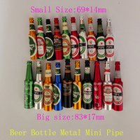 big beer bottles - Smoking Accessories Mini Smoke Pipe Metal Smoking Pipe Small Popular Beer bottles pattern Big and Small size Pipe