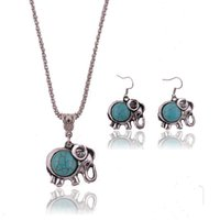 bear turquoise jewelry - Retro Bohemian Hollow Turquoise Necklace Earrings Set Cute Elephant Bear Pendant Jewelry Sets for Women Jewelry Accessories