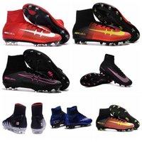 al por mayor hypervenom-cuero mercurial Superfly FG ACC botas de fútbol Neymar HyperVENom Phantom II NJR X Superfly CR7 grapas de 2016 nuevos zapatos para hombre de alta del tobillo de fútbol