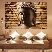 asian framed art - 3 Pieces Classical Buddha Painting Solemn Buddhism Wall Canvas Art Asian Religion Ancient Picture For House Decoration No Framed