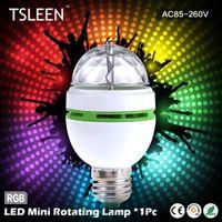 Wholesale off TSLEEN NEW E27 W Colorful Auto Rotating lampada V Bulb Stage Light Party Lamp Disco MIni RGB LED Nightlight