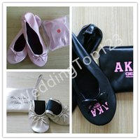 bags wedding band - low prices high quality Wedding White flat roll up shoes cheap folding fold up ballerina shoes in bag