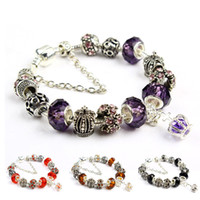 Wholesale 8 Colors Glass Beads Bracelets DIY Charms Beads Chain Bracelet Sterling Silver Beads Charms Jewelry