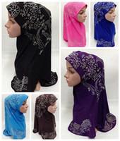 Wholesale Deluxe Muslim Islamic Hijab Scarf Woman Amira Cap Fashion Beautiful Rhinestone