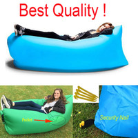 Wholesale Fast Air Inflatable Sofa Laybag Hangout Camping Sleeping Bag KAISR Beach Sofas Lounger Bed Hammock Lazy bags Chair With Side Pocket Nails
