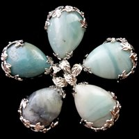amazonite pendant - Pretty Silver Plated Flower Wrap Natural Amazonite Gem Teardrop Pendant Bead