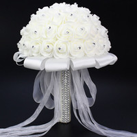 artificial summer flowers - 2016 Summer Beach Wedding Fashion silk Wedding Bouquet Artificial Flower Rose Crystal Bridal Bouquets for Unique Wedding