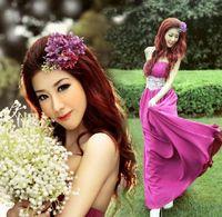bamboo companies - New Arrival Hot Sale Fashion Sweety Royal Palace Sexy Luxurious Bra Company Slim Purple Girl Halter Catwalk Prom Evening Dress