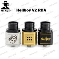 Hellboy V2 RDA Vaporisateur reconstructible Dripping atomiseurs Airflow contrôle PEEK Insulator Large Bore Drip Tip E Cigs Fit mécanique Vape Mods