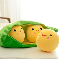 baby pea pod - 500sets Kids Baby Plush Toys For Children Peas in Pod Cute Pea Stuffed Plant Doll Girlfriend Kawaii Gift Toy