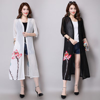 Wholesale Cardigans Style For Women - Trench coat 2016 new Summer style Suitable for a variety of occasions Vintage Plus-size Loose Floral print Sunscreen Translucent Cardigan