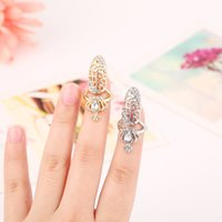Wholesale New Hot Sale Newest Design Fashion Austrian Crystal Crown Hollow Gold Silver Nail Rings For Chic Girls Women