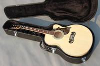 Wholesale Handmade OEM custom inch Jumbo nature color acoustic electric guitar cut away China made guitars