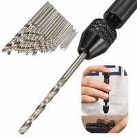 achat en gros de bijoux perceuse à main-25pcs Mini Micro-Drill Hss Twist Drill Bits Set Avec Aluminium Hand Drill sans clé Chuck pour électronique Crafts Jewelry Watch Kit