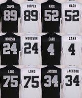 Wholesale Elite Raiders jerseys cheap rugby football jerseys Oakland COOPER MACK WOODSON CARR JACKSON LONG JANIKOWSKI black white