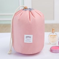 big red drum - Hot sale solid organizer bolsas cosmetic bags and cases big Capacity Drawstring Elegant Drum Wash Bags maleta de maquiagem