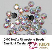 Wholesale New Arrival Sewing Garment Rhinestones Blue Light Crystal AB Color Iron On Strass Flatback Glass DMC Hotfix For Wedding Designs