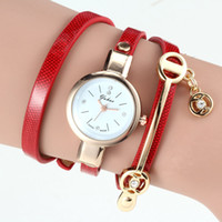 alloy steel insert - New Arrival Leather Alloy Insert Crystal Love Shape Pendant Bracelet Watch High Quality Children Quartz Watches Crystal