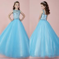 Wholesale 2017 Light Sky Blue Lovely Long Girl s Pageant Dresses Sheer Crew Neck Beaded Crystals Corset Back Tulle Princess Flower Girl Dresses BA3907