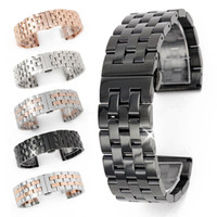 Wholesale Solid Stainless Steel Links Watch Band Strap Bracelet Curved End mm