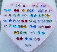 Wholesale 36pairs Mix Colors Fashion Women Luxury Glass Crystal Square Cube Stud Earrings Jewelry For Girls