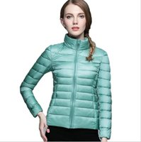 Wholesale Winter Jacket Women Ultra Light Down Jackets Stand Collar Warmer Coat Solid Female Parka and Jacket Feather Parka mujer