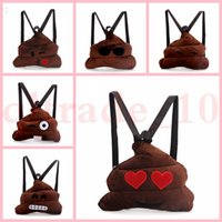 Wholesale kids emoji bag Cute Shits Poop backpack Small QQ Lovely Plush doll toy Funny Poo Shape school bag LJJH1420