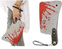 american videos - AB381 VIDEO Bold Bloody Cleaver Clutch Purse Punk Novel kitchen knife Shape and blood Print multifunctional Wristlet bag