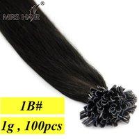 Wholesale 1B Natural Color Capsules Hair Extensions Pre Bonded Hair U Tip g Nail Tip Keratin Hair Extensions quot quot quot